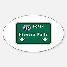 Niagara Falls, NY Road Sign, USA Sticker (Oval)