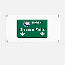 Niagara Falls, NY Road Sign, USA Banner