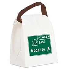 Modesto, CA Road Sign, USA Canvas Lunch Bag