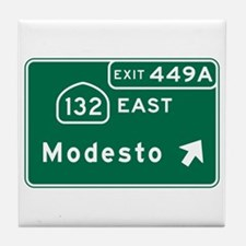 Modesto, CA Road Sign, USA Tile Coaster