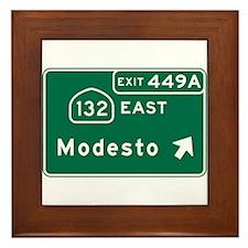 Modesto, CA Road Sign, USA Framed Tile