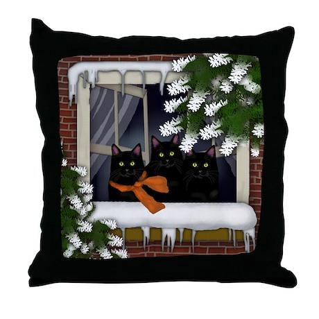 BLACK CATS WINTER WINDOW Throw Pillow