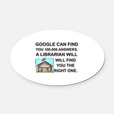Cute Librarian Oval Car Magnet