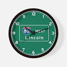 Lincoln, NE Road Sign, USA Wall Clock