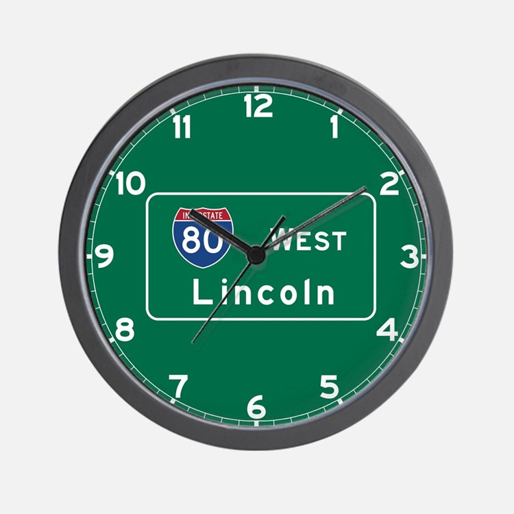 Lincoln, NE Road Sign, USA Wall Clock