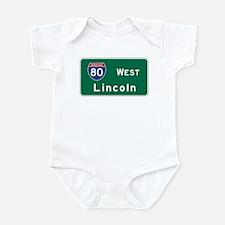 Lincoln, NE Road Sign, USA Infant Bodysuit