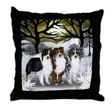 AUSTRALIAN SHEPHERD DOGS WINTER SUN Throw Pillow