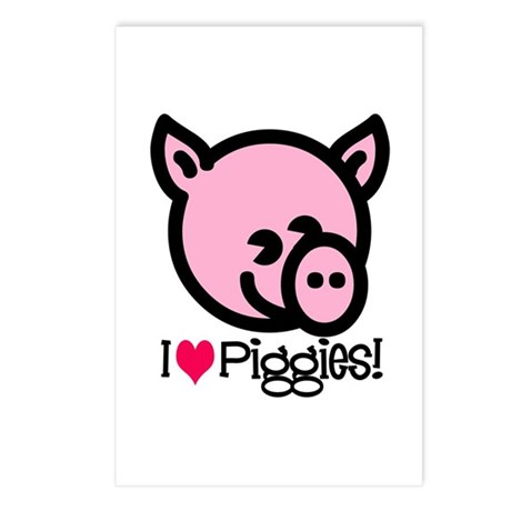 I Love Piggies! Postcards (Package of 8)