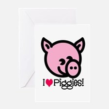 I Love Piggies! Greeting Card