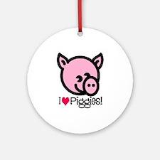 I Love Piggies! Ornament (Round)