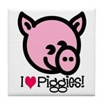I Love Piggies! Tile Coaster