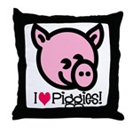 I Love Piggies! Throw Pillow