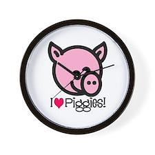I Love Piggies! Wall Clock