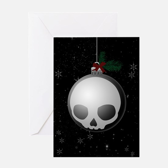 Skull Christmas Ornament Graphic Greeting Cards