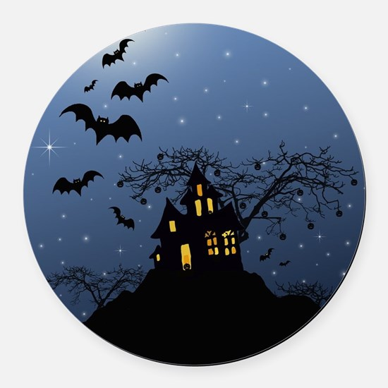Halloween House Round Car Magnet