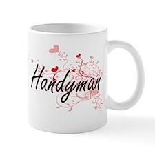 Handyman Artistic Job Design with Hearts Mugs