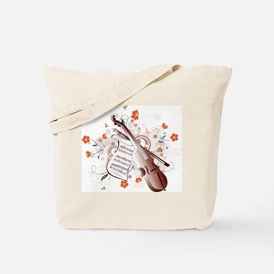 Floral Violin Tote Bag