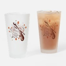 Floral Violin Drinking Glass