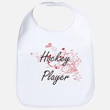 Hockey Player Artistic Job Design with Hearts Bib