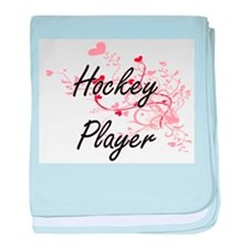 Hockey Player Artistic Job Design wit baby blanket