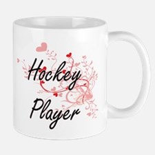 Hockey Player Artistic Job Design with Hearts Mugs