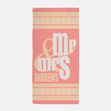 Mr. and Mrs. Coral Pink Wedding Beach Towel