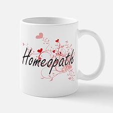 Homeopath Artistic Job Design with Hearts Mugs