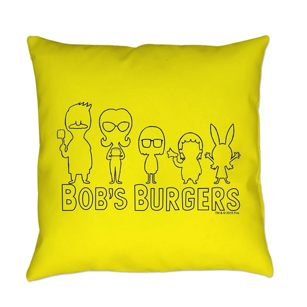 Bob S Burgers Family Outline Everyday Pillow By Bobsburgerstv