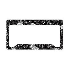Cute Black floral License Plate Holder