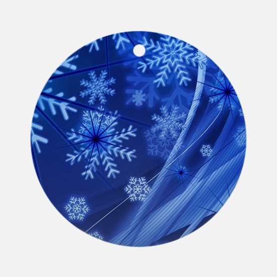 Blue Snowflakes Round Ornament