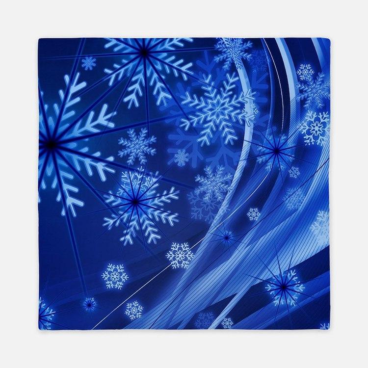 Blue Snowflakes Queen Duvet