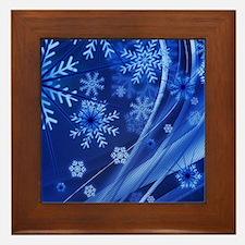 Blue Snowflakes Framed Tile