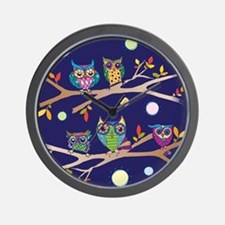 Nighttime Owl Party Wall Clock