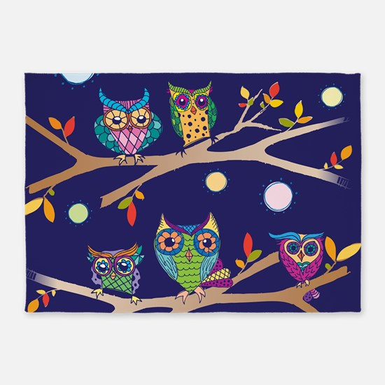Nighttime Owl Party 5'x7'Area Rug