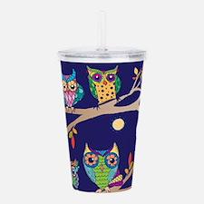 Nighttime Owl Party Acrylic Double-wall Tumbler