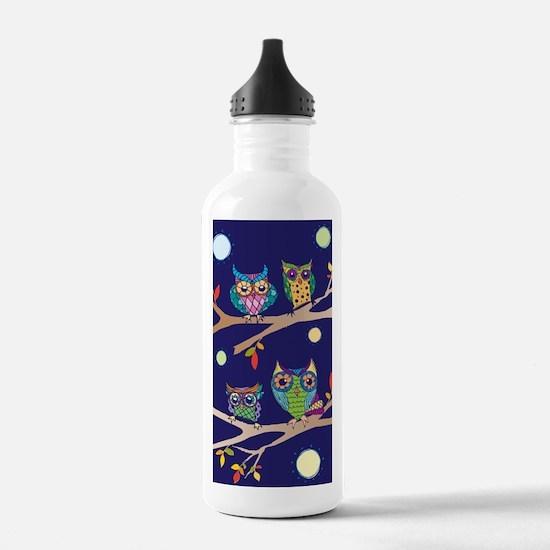 Nighttime Owl Party Water Bottle