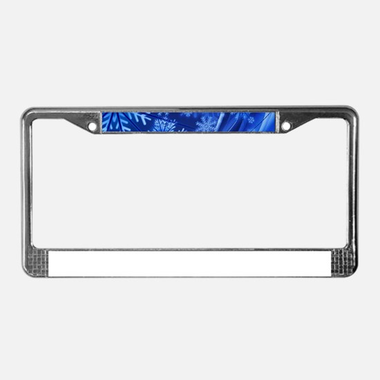 Blue Snowflakes License Plate Frame