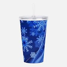 Blue Snowflakes Acrylic Double-wall Tumbler