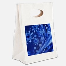 Blue Snowflakes Canvas Lunch Tote