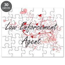 Law Enforcement Agent Artistic Job Design w Puzzle