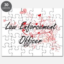 Law Enforcement Officer Artistic Job Design Puzzle