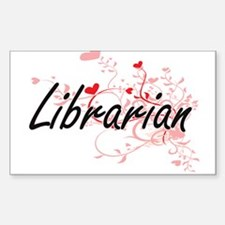 Librarian Artistic Job Design with Hearts Decal