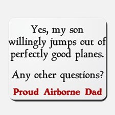 My son jumps...dad Mousepad