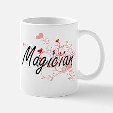 Magician Artistic Job Design with Hearts Mugs