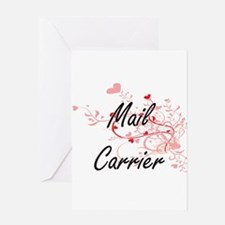 Mail Carrier Artistic Job Design wi Greeting Cards