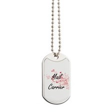 Mail Carrier Artistic Job Design with Hea Dog Tags