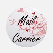 Mail Carrier Artistic Job Design wi Round Ornament