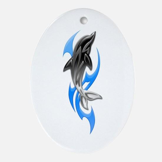 Tribal Dolphin Oval Ornament