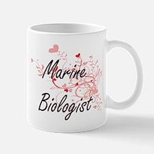 Marine Biologist Artistic Job Design with Hea Mugs