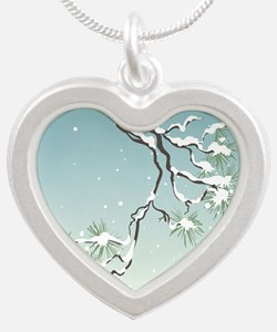 Snowy Japanese Pine Silver Heart Necklace